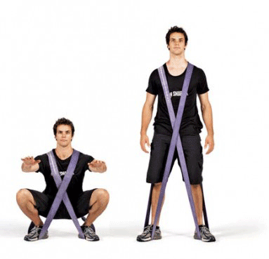double resistance bands squat