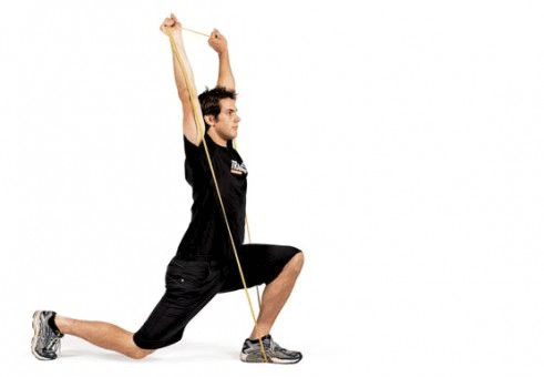 split stance press with resistance bands